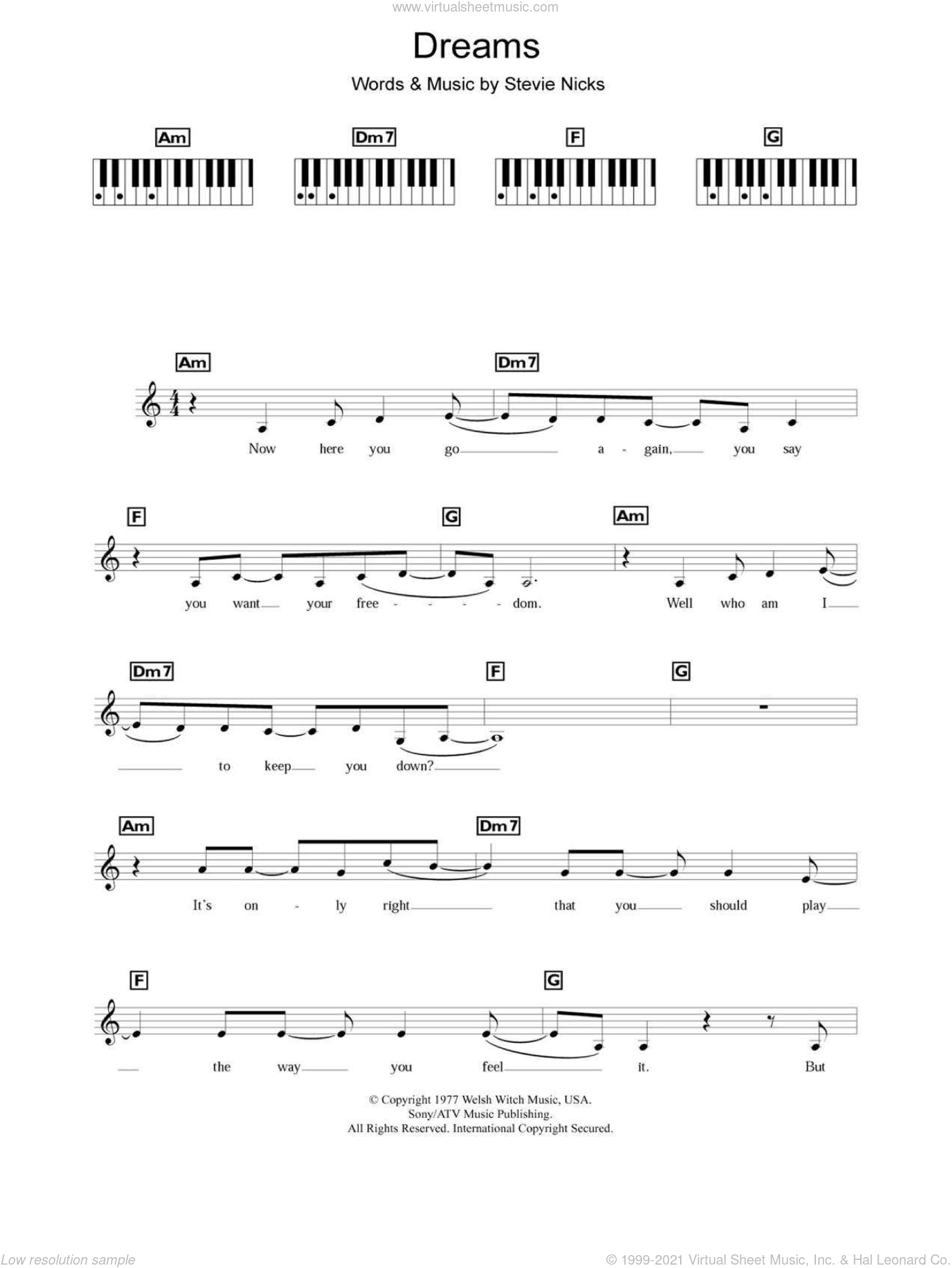 Dreams sheet music for piano solo (chords, lyrics, melody) by Fleetwood Mac, The Corrs and Stevie Nicks, intermediate piano (chords, lyrics, melody)