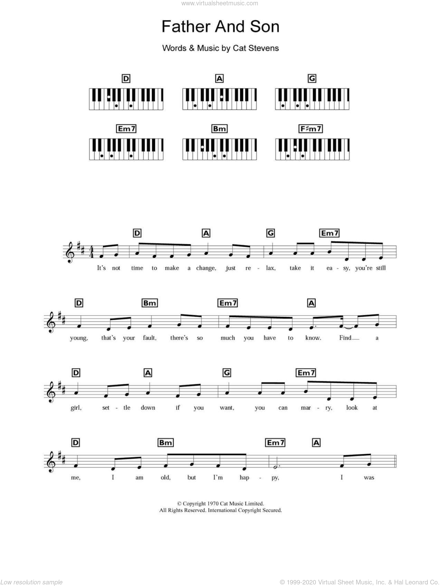 Boyzone Father And Son Sheet Music For Piano Solo Chords Lyrics