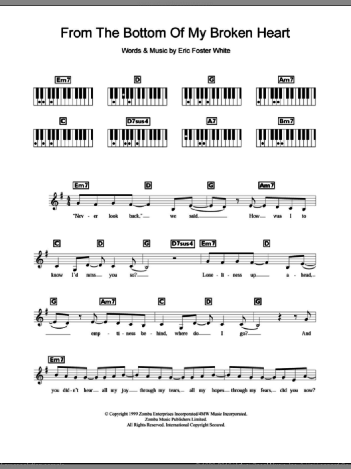 From The Bottom Of My Broken Heart sheet music for piano solo (chords, lyrics, melody) by Britney Spears and Eric Foster White, intermediate piano (chords, lyrics, melody). Score Image Preview.