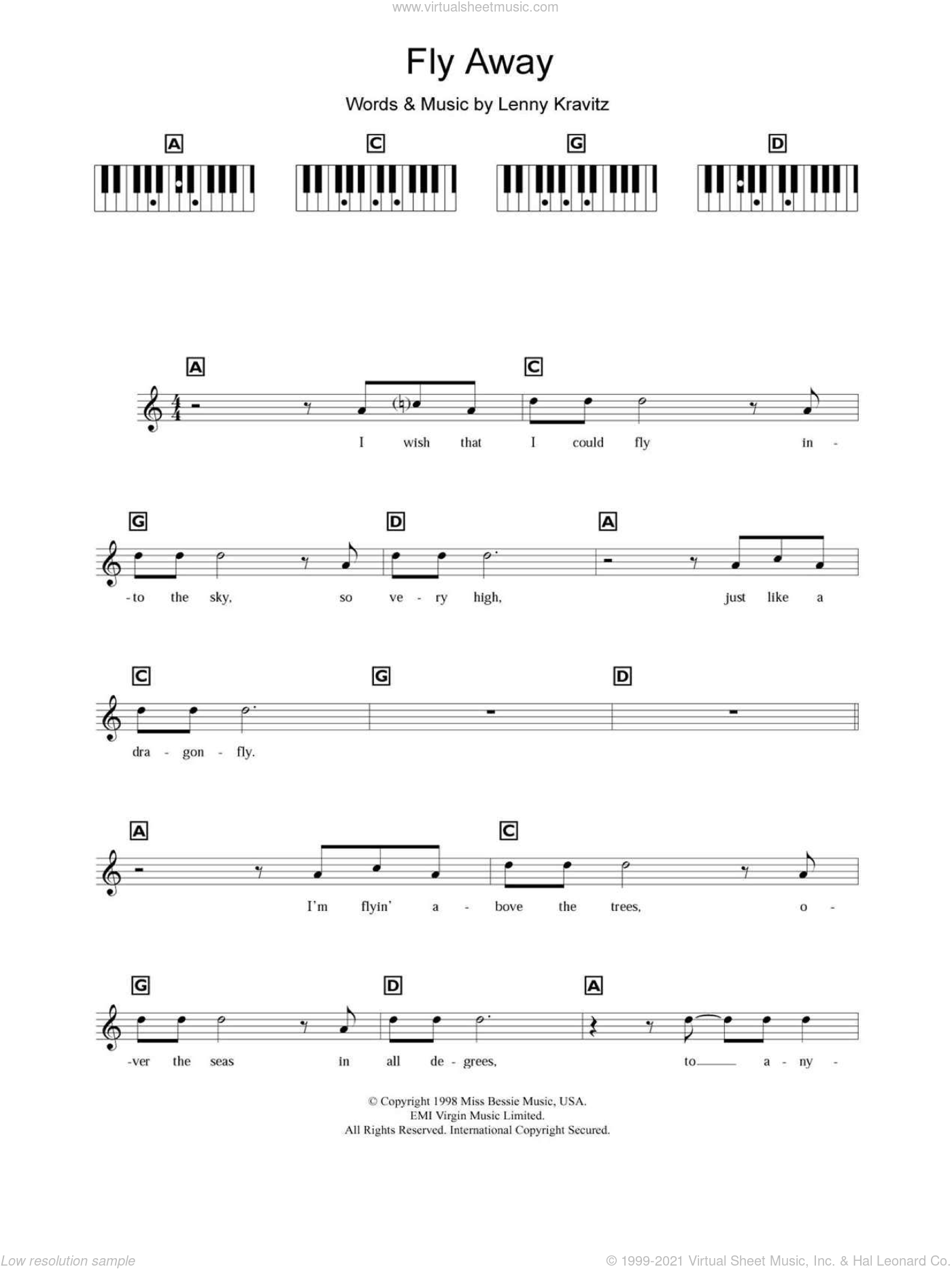 Fly Away sheet music for piano solo (chords, lyrics, melody) by Lenny Kravitz, intermediate piano (chords, lyrics, melody). Score Image Preview.