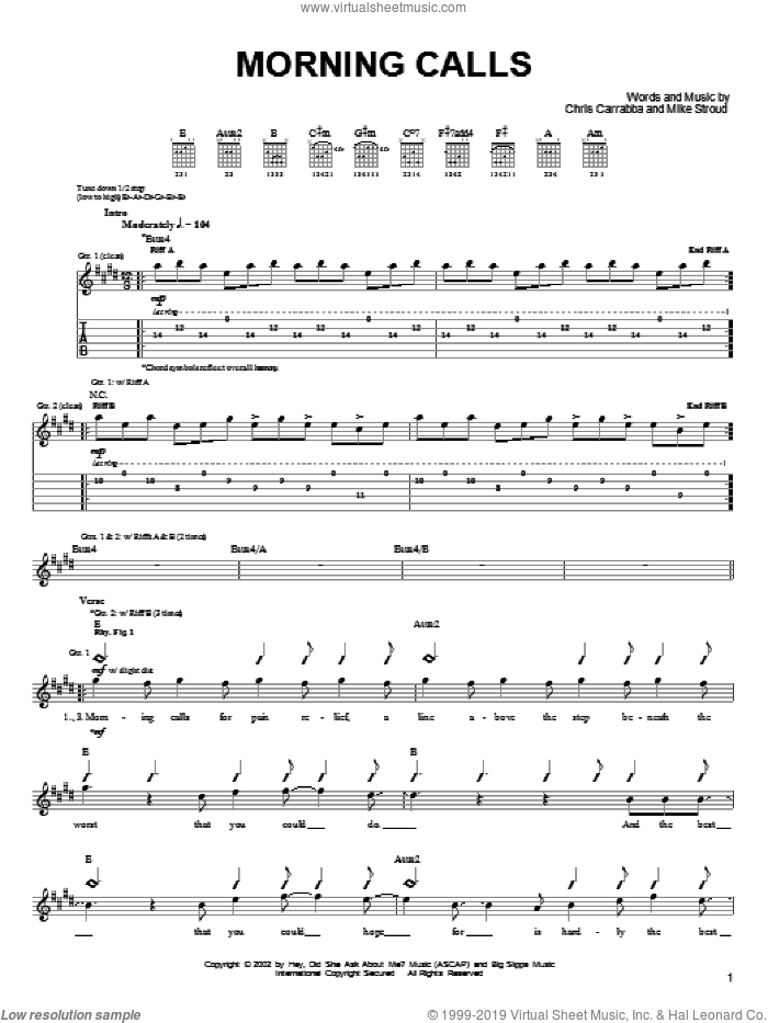 Morning Calls sheet music for guitar (tablature) by Mike Stroud, Dashboard Confessional and Chris Carrabba. Score Image Preview.