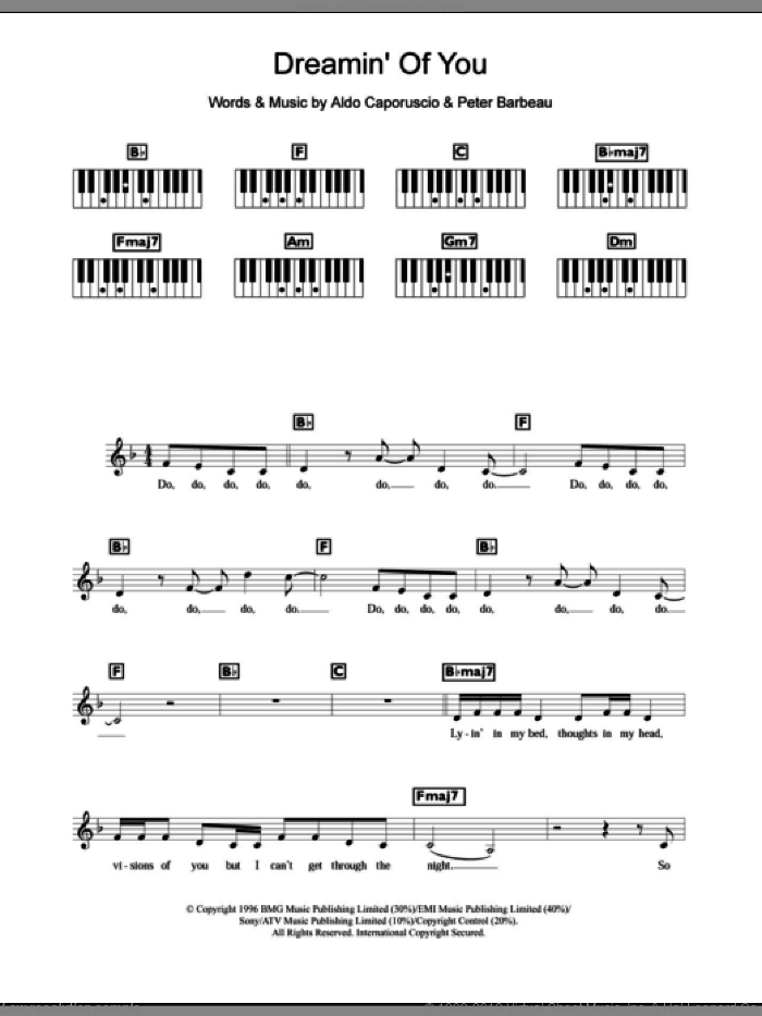 Dreamin' Of You sheet music for piano solo (chords, lyrics, melody) by Peter Barbeau and Celine Dion. Score Image Preview.
