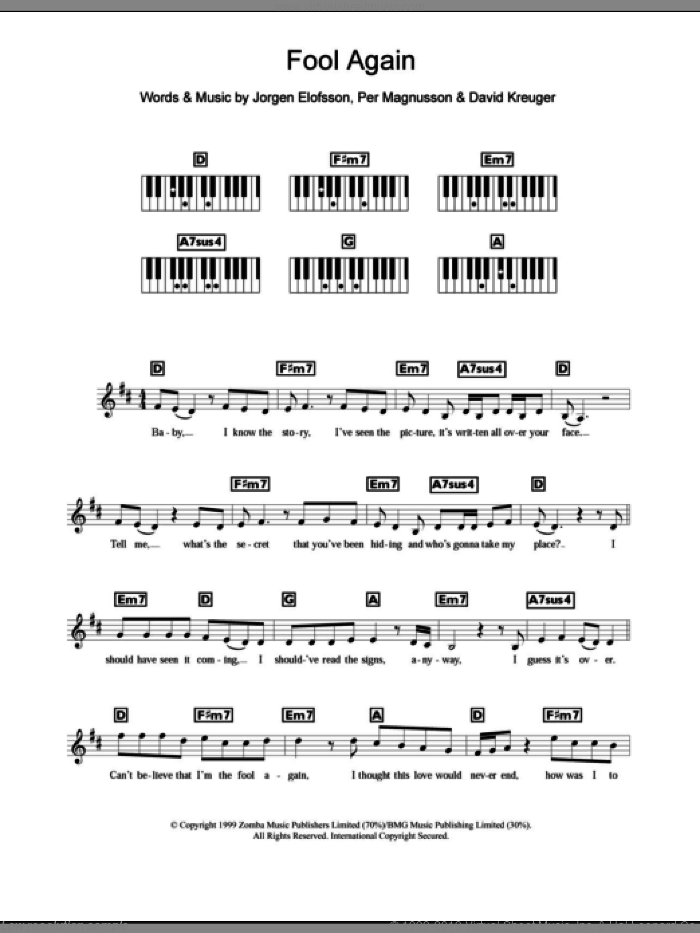 Fool Again sheet music for piano solo (chords, lyrics, melody) by Westlife, David Kreuger, Jorgen Elofsson and Per Magnusson, intermediate piano (chords, lyrics, melody). Score Image Preview.