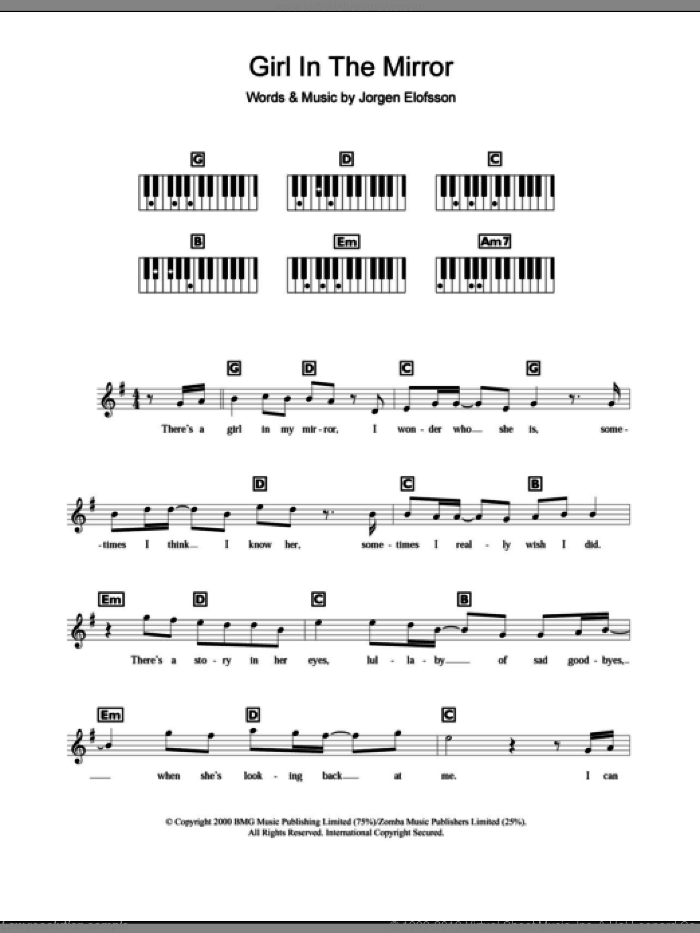 Girl In The Mirror sheet music for piano solo (chords, lyrics, melody) by Britney Spears and Jorgen Elofsson, intermediate piano (chords, lyrics, melody)