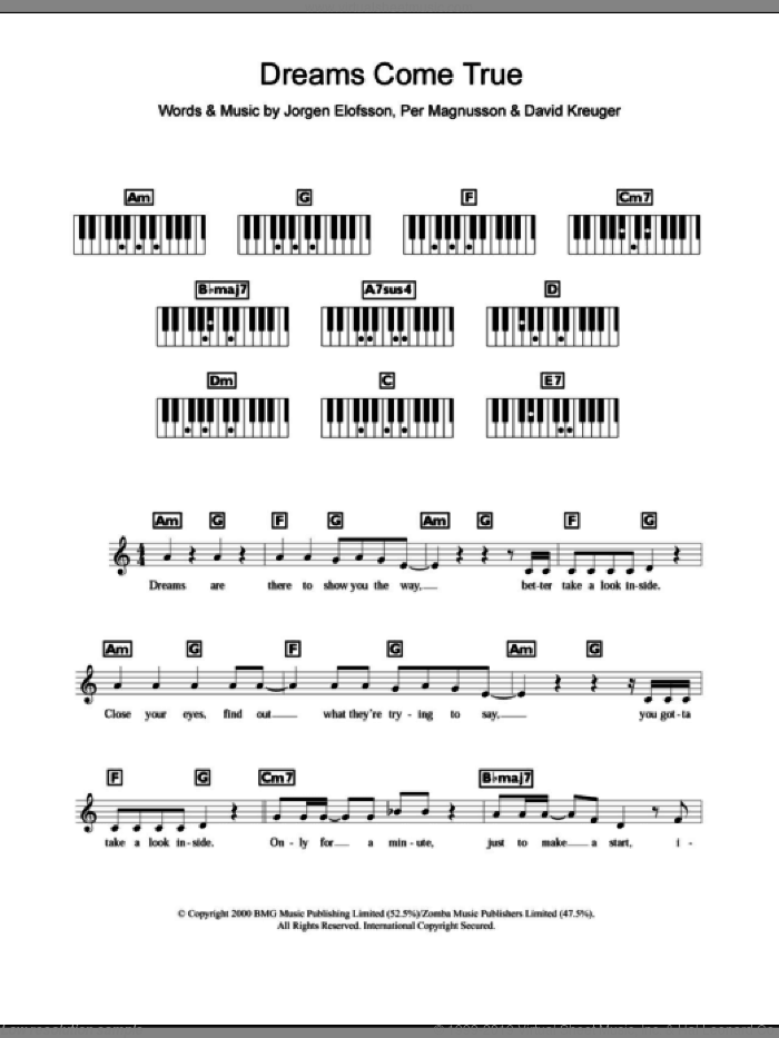 Dreams Come True sheet music for piano solo (chords, lyrics, melody) by Per Magnusson, Westlife, David Kreuger and Jorgen Elofsson. Score Image Preview.