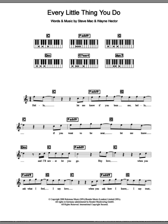 Every Little Thing You Do sheet music for piano solo (chords, lyrics, melody) by Westlife, Steve Mac and Wayne Hector, intermediate piano (chords, lyrics, melody). Score Image Preview.