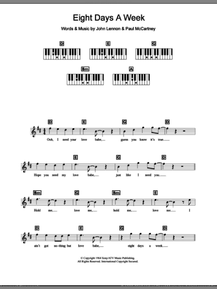 Eight Days A Week sheet music for piano solo (chords, lyrics, melody) by Paul McCartney