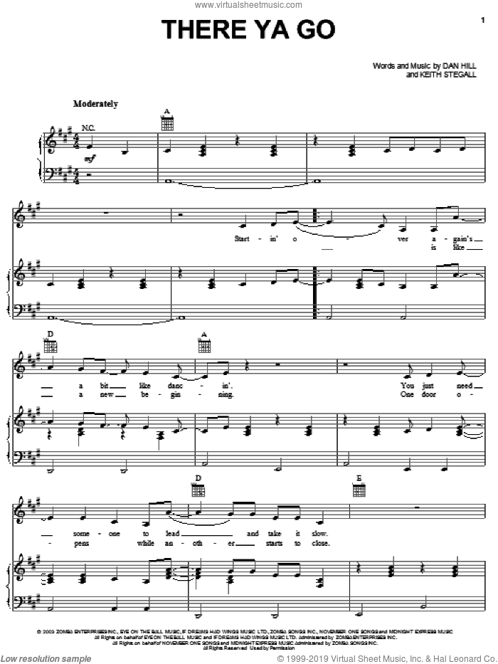 There Ya Go sheet music for voice, piano or guitar by Keith Stegall
