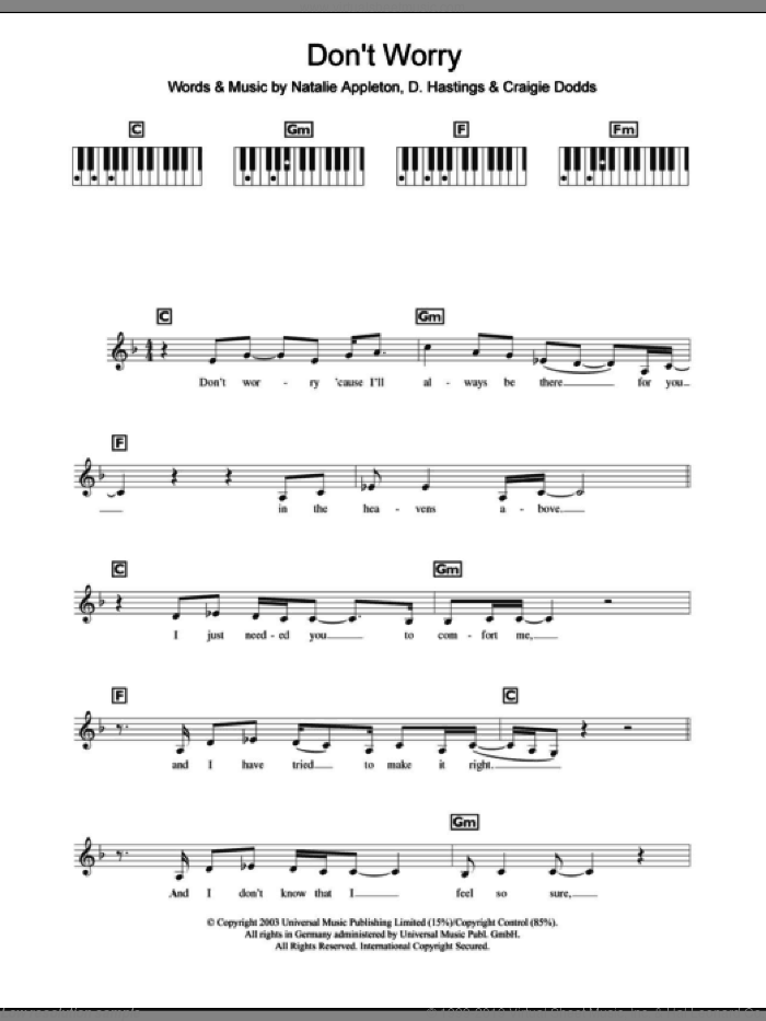 Don't Worry sheet music for piano solo (chords, lyrics, melody) by Natalie Appleton. Score Image Preview.