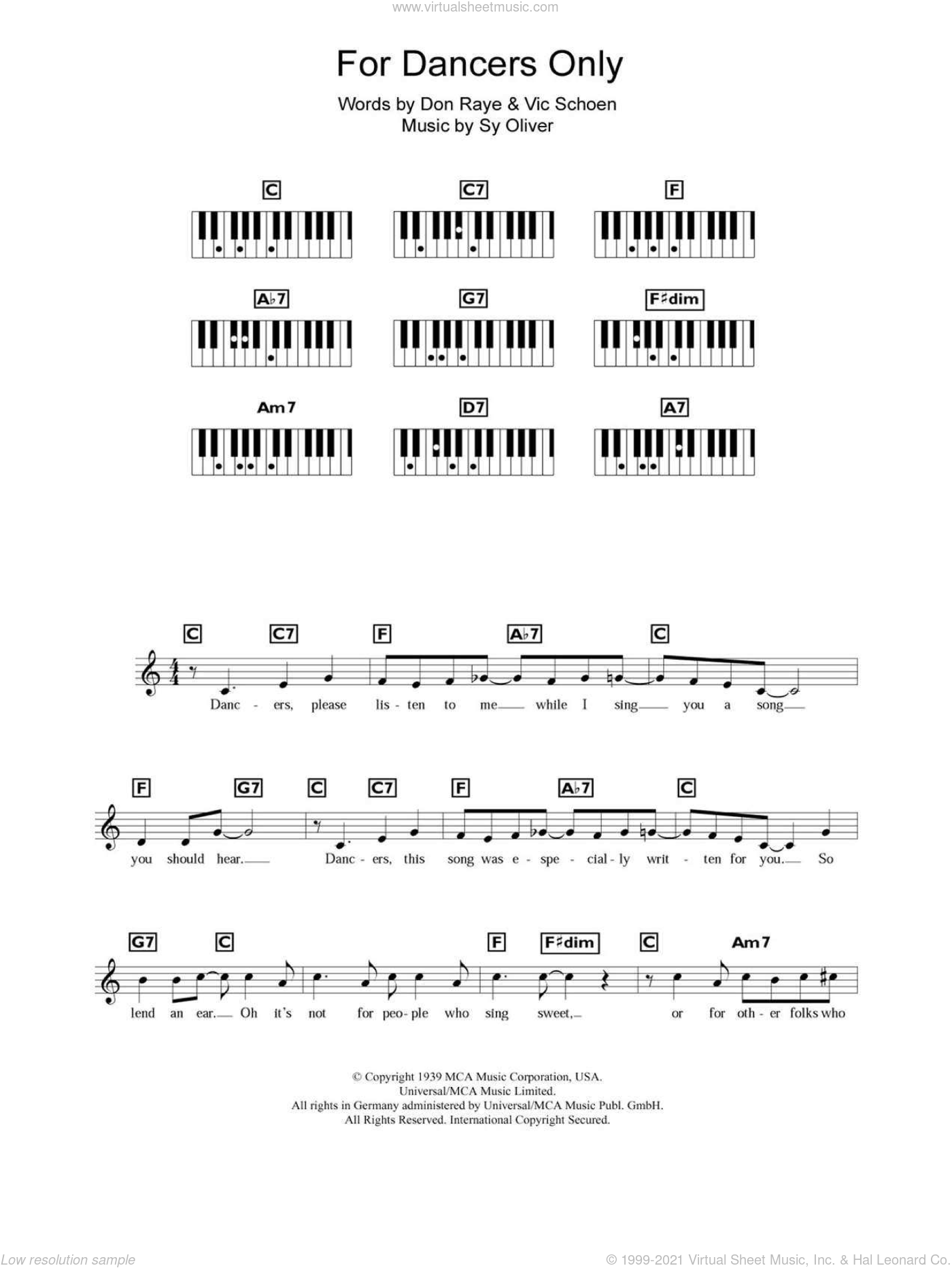 For Dancers Only sheet music for piano solo (chords, lyrics, melody) by Vic Schoen, Don Raye and Sy Oliver. Score Image Preview.