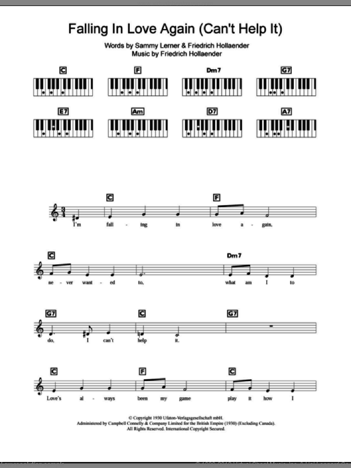 Falling In Love Again (Can't Help It) sheet music for piano solo (chords, lyrics, melody) by Marlene Dietrich, Friedrich Hollaender and Sammy Lerner, intermediate piano (chords, lyrics, melody)