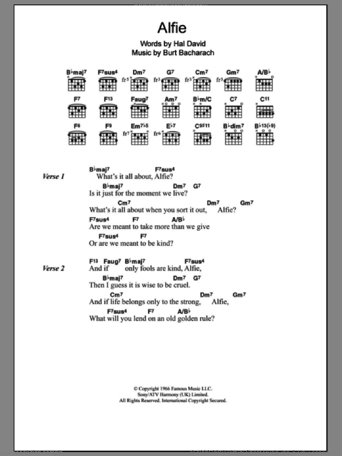 David - Alfie sheet music for guitar (chords) [PDF]