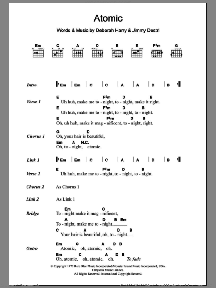Atomic sheet music for guitar (chords, lyrics, melody) by Jimmy Destri