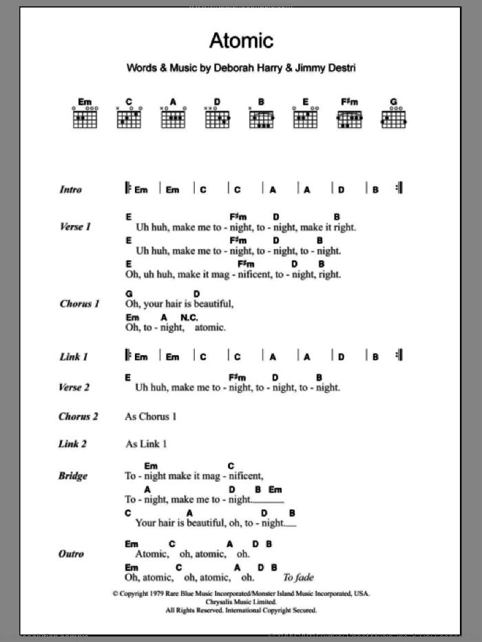 Atomic sheet music for guitar (chords) by Blondie, Deborah Harry and Jimmy Destri, intermediate skill level