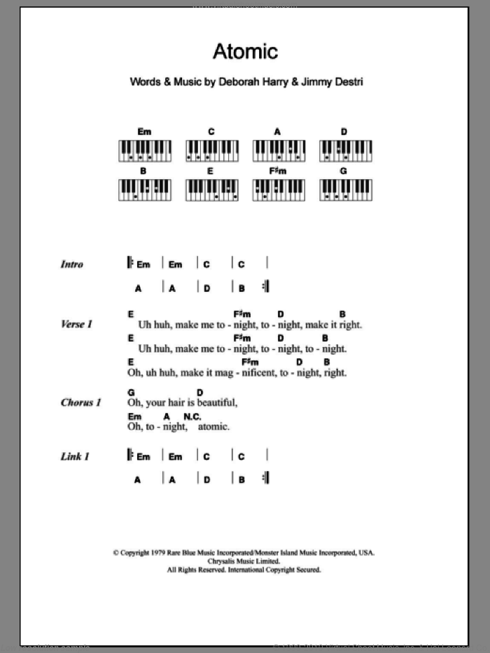 Atomic sheet music for piano solo (chords, lyrics, melody) by Jimmy Destri, Blondie and Deborah Harry. Score Image Preview.