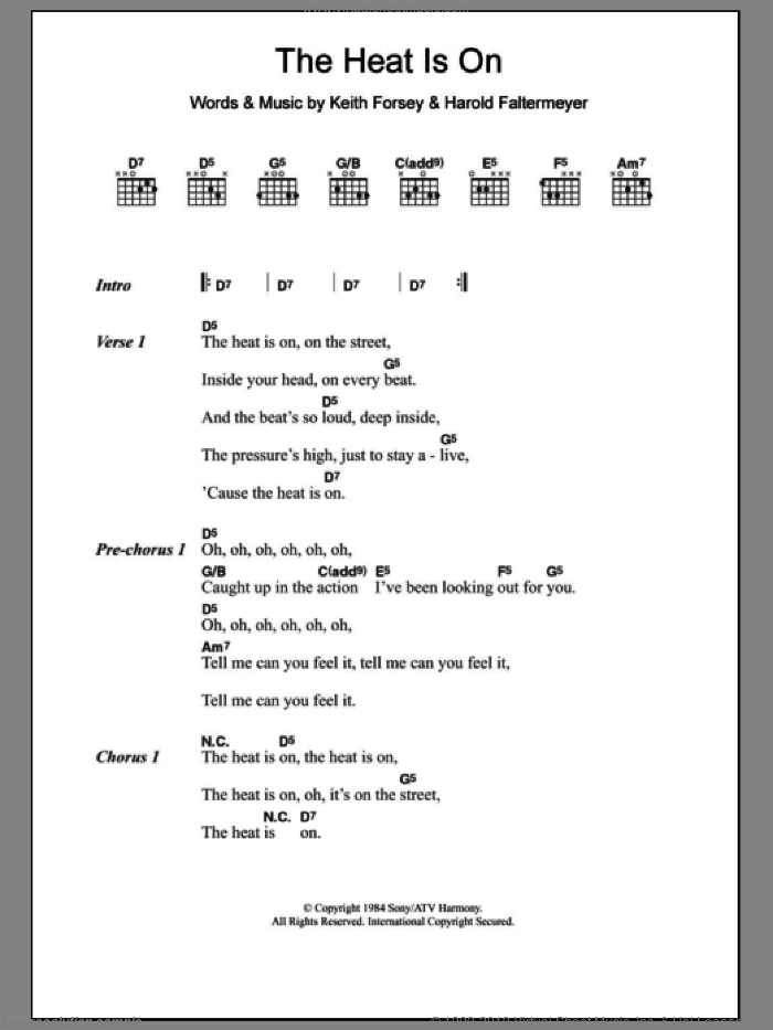 The Heat Is On sheet music for guitar (chords) by Keith Forsey, Glenn Frey and Harold Faltermeyer
