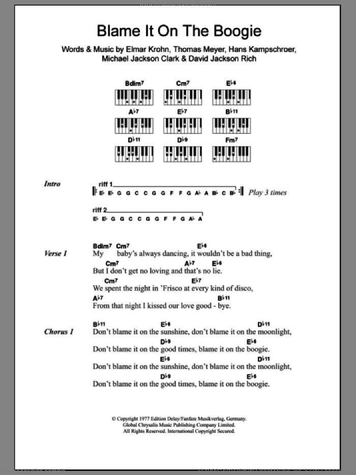 Blame It On The Boogie sheet music for piano solo (chords, lyrics, melody) by Thomas Meyer, The Jackson 5 and David Jackson Rich. Score Image Preview.