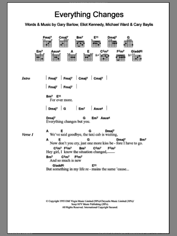 Everything Changes sheet music for guitar (chords) by Michael Ward, Take That, Cary Baylis, Eliot Kennedy and Gary Barlow. Score Image Preview.
