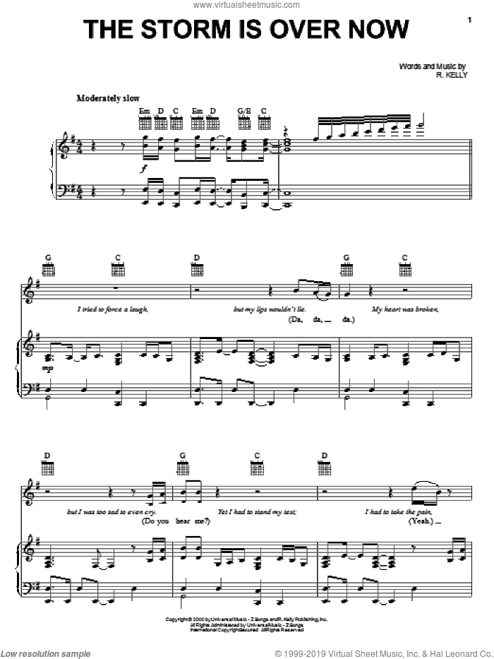 The Storm Is Over Now sheet music for voice, piano or guitar by Bishop T.D. Jakes and Robert Kelly, intermediate skill level