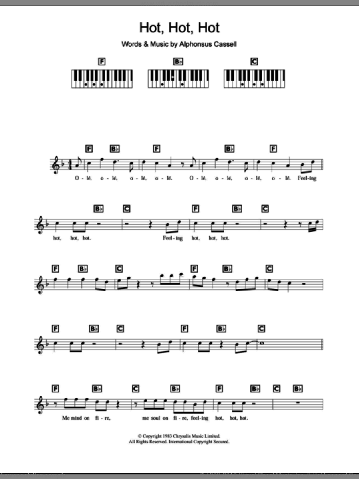 Hot Hot Hot sheet music for piano solo (chords, lyrics, melody) by Alphonsus Cassell. Score Image Preview.