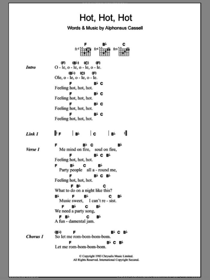 Hot Hot Hot sheet music for guitar (chords) by Buster Poindexter and Alphonsus Cassell, intermediate skill level
