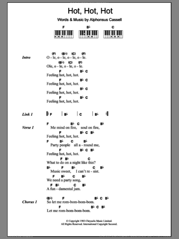 Hot Hot Hot sheet music for piano solo (chords, lyrics, melody) by Buster Poindexter and Alphonsus Cassell, intermediate piano (chords, lyrics, melody)
