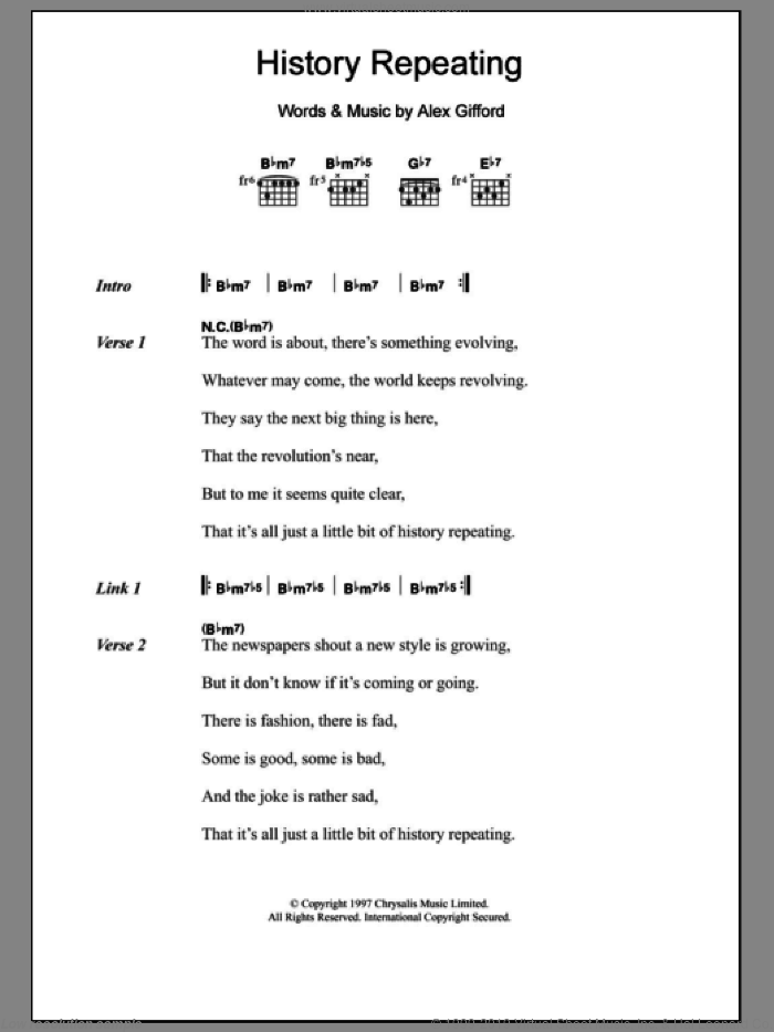 History Repeating sheet music for guitar (chords, lyrics, melody) by Alex Gifford