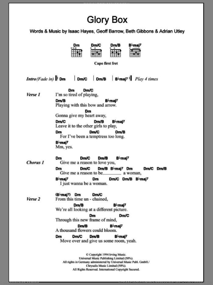 Glory Box sheet music for guitar (chords) by Portishead, Adrian Utley, Beth Gibbons, Geoff Barrow and Isaac Hayes, intermediate skill level