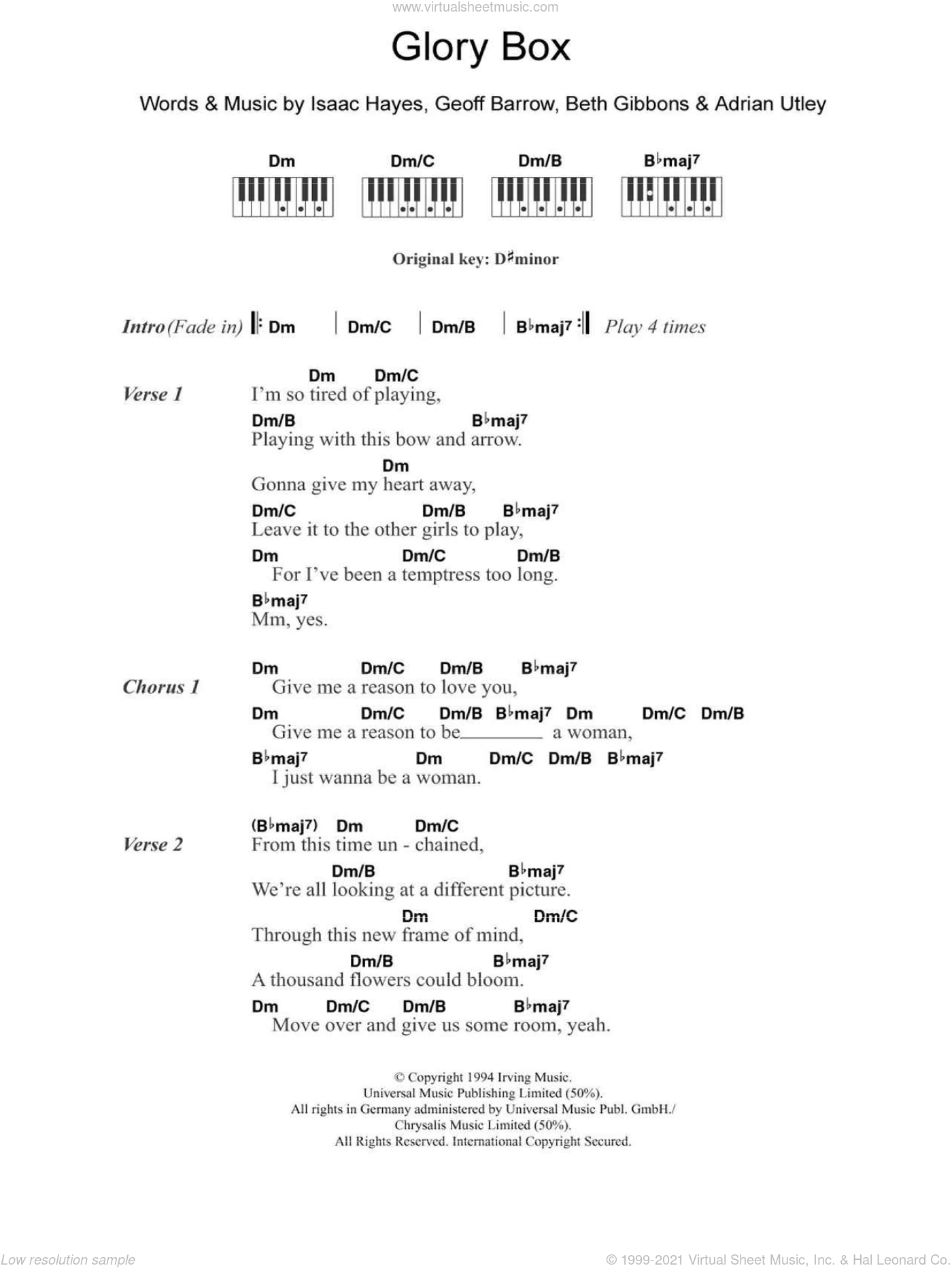 Glory Box sheet music for piano solo (chords, lyrics, melody) by Portishead, Adrian Utley, Beth Gibbons, Geoff Barrow and Isaac Hayes, intermediate piano (chords, lyrics, melody)