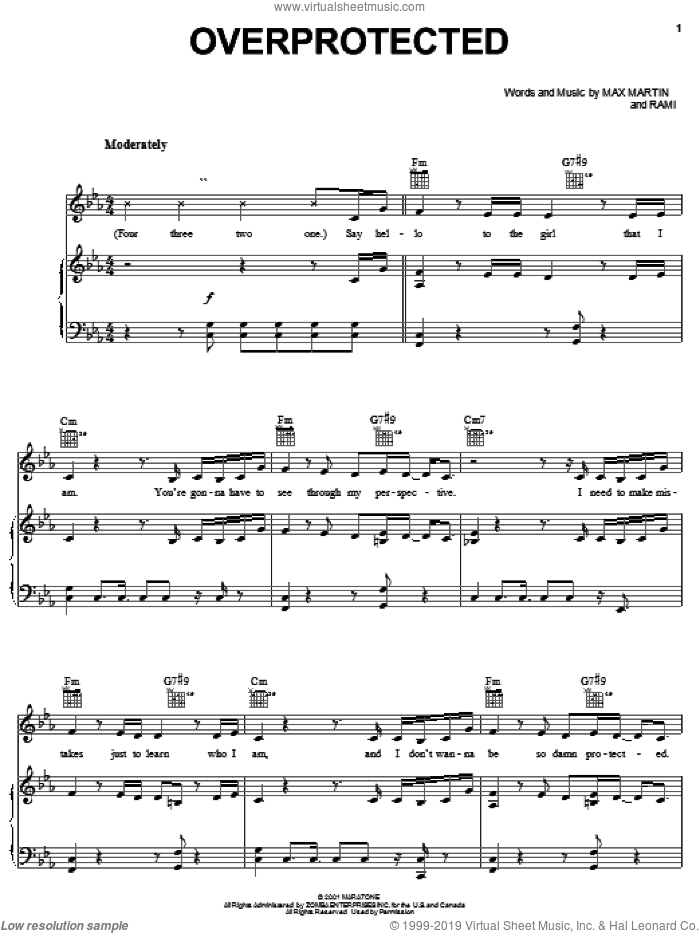 Overprotected sheet music for voice, piano or guitar by Rami, Britney Spears and Max Martin. Score Image Preview.