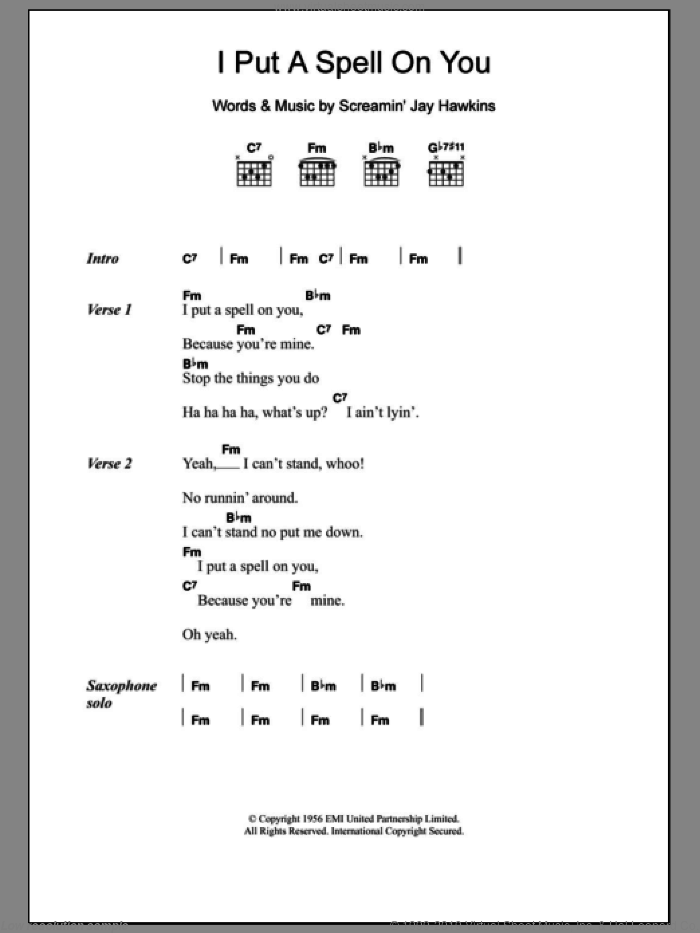 I Put A Spell On You sheet music for guitar (chords) by Screamin' Jay Hawkins. Score Image Preview.