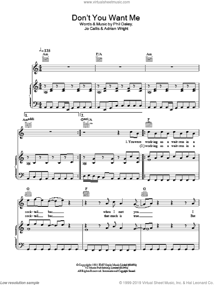Don't You Want Me sheet music for voice, piano or guitar by Phil Oakey
