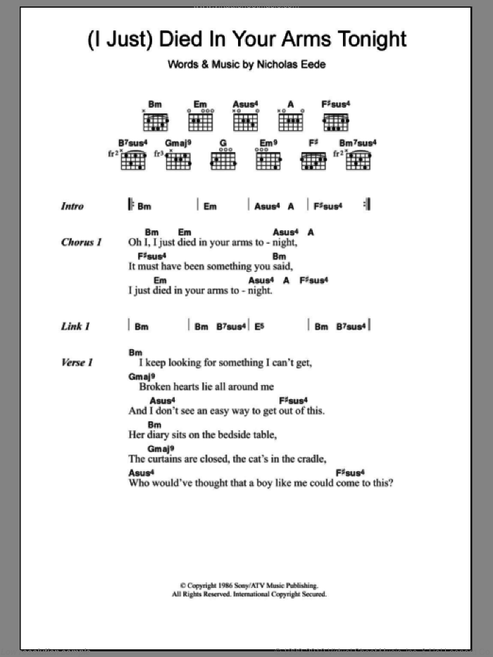Crew - (I Just) Died In Your Arms Tonight sheet music for guitar ...