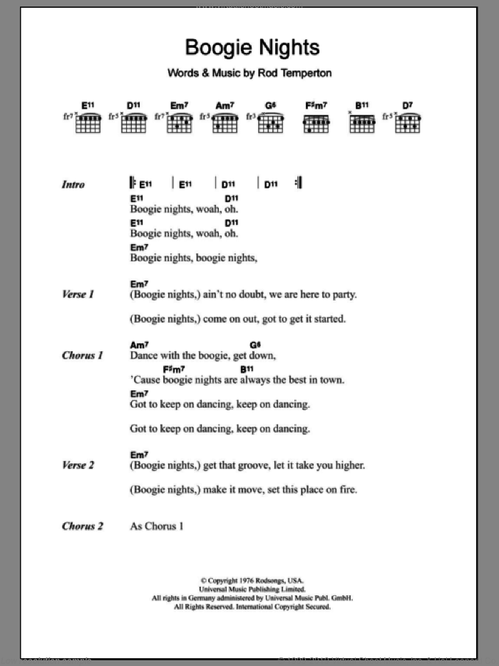 Boogie Nights sheet music for guitar (chords) by Rod Temperton. Score Image Preview.