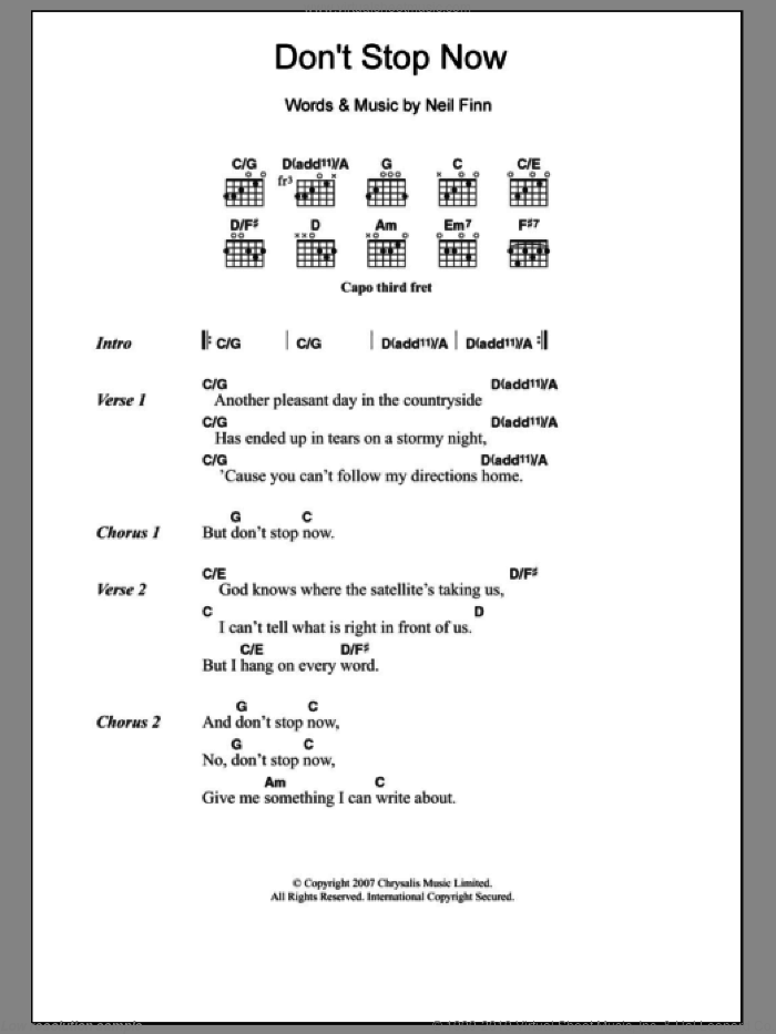 Don't Stop Now sheet music for guitar (chords) by Crowded House and Neil Finn. Score Image Preview.