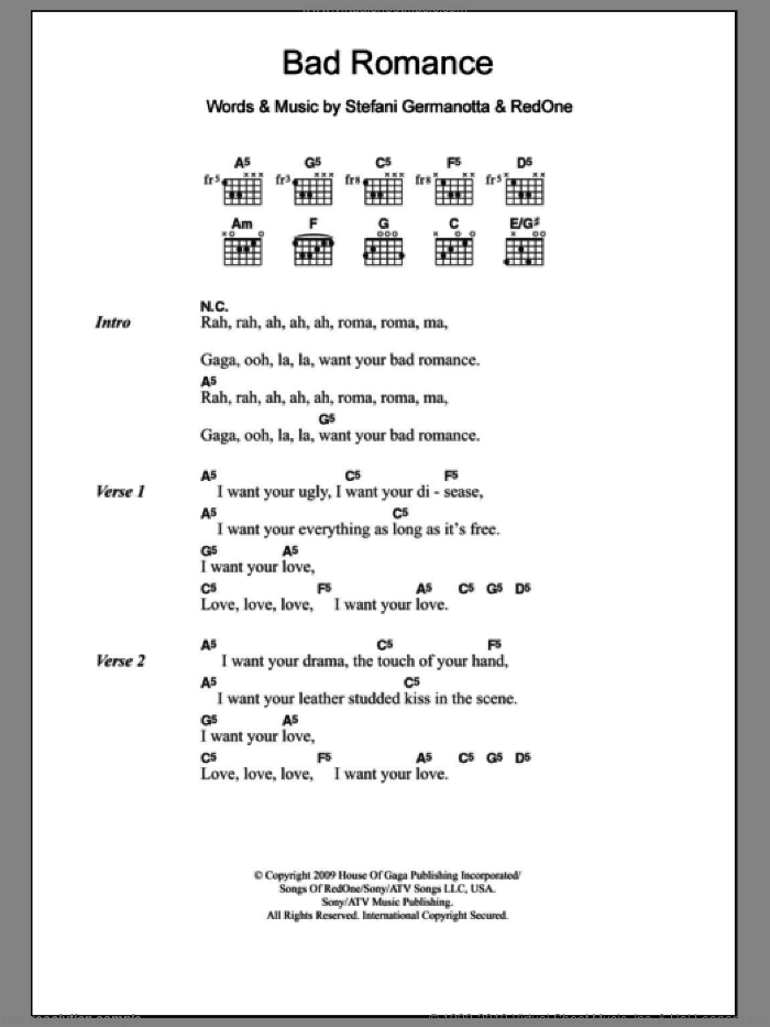 Bad Romance sheet music for guitar (chords) by Lady Gaga and RedOne. Score Image Preview.