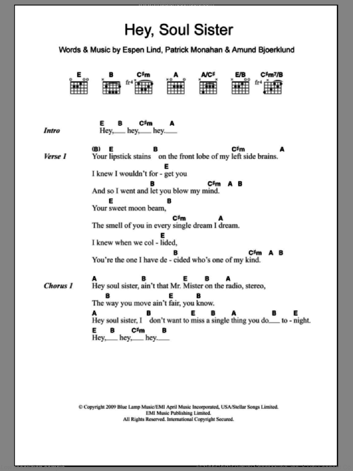 Hey, Soul Sister sheet music for guitar (chords) by Pat Monahan