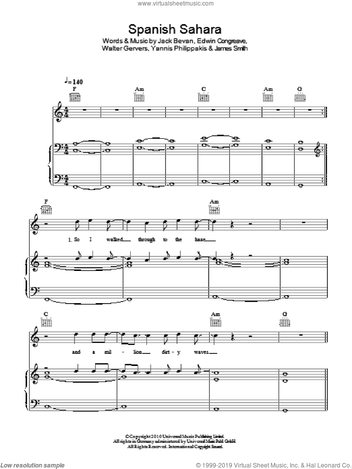 Spanish Sahara sheet music for voice, piano or guitar by Foals, Edwin Congreave, Jack Bevan, James Smith, Walter Gervers and Yannis Philippakis, intermediate skill level