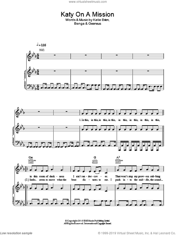 Katy On A Mission sheet music for voice, piano or guitar by Katie Brien. Score Image Preview.