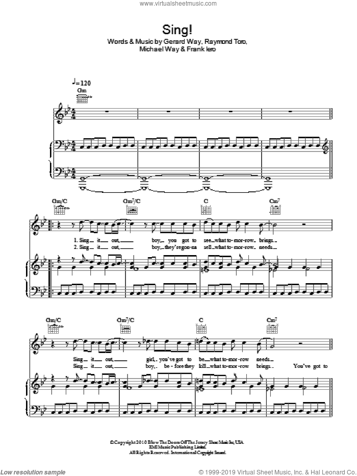 Sing sheet music for voice, piano or guitar by Glee Cast, My Chemical Romance, Frank Iero, Gerard Way, Michael Way and Raymond Toro, intermediate skill level
