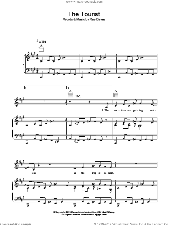 The Tourist sheet music for voice, piano or guitar by Ray Davies. Score Image Preview.