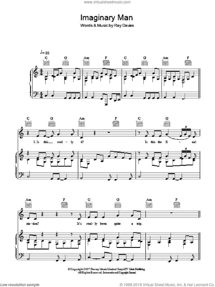 Imaginary Man sheet music for voice, piano or guitar by Ray Davies, intermediate skill level