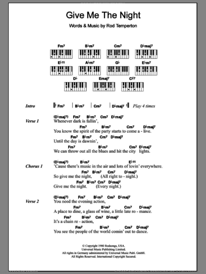 Give Me The Night sheet music for piano solo (chords, lyrics, melody) by Rod Temperton