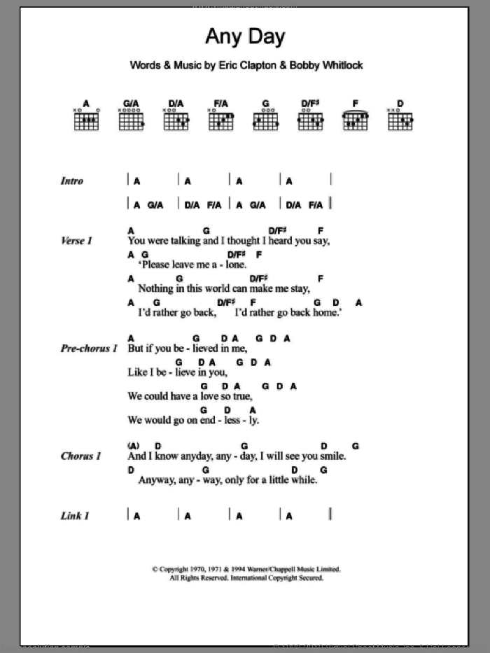 Any Day sheet music for guitar (chords) by Eric Clapton, intermediate. Score Image Preview.