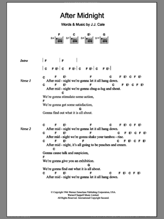 After Midnight sheet music for guitar (chords) by John Cale and Eric Clapton. Score Image Preview.