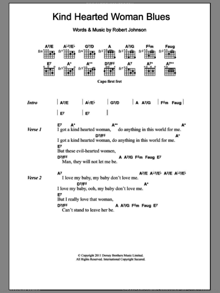 Kind Hearted Woman Blues sheet music for guitar (chords) by Robert Johnson, intermediate skill level