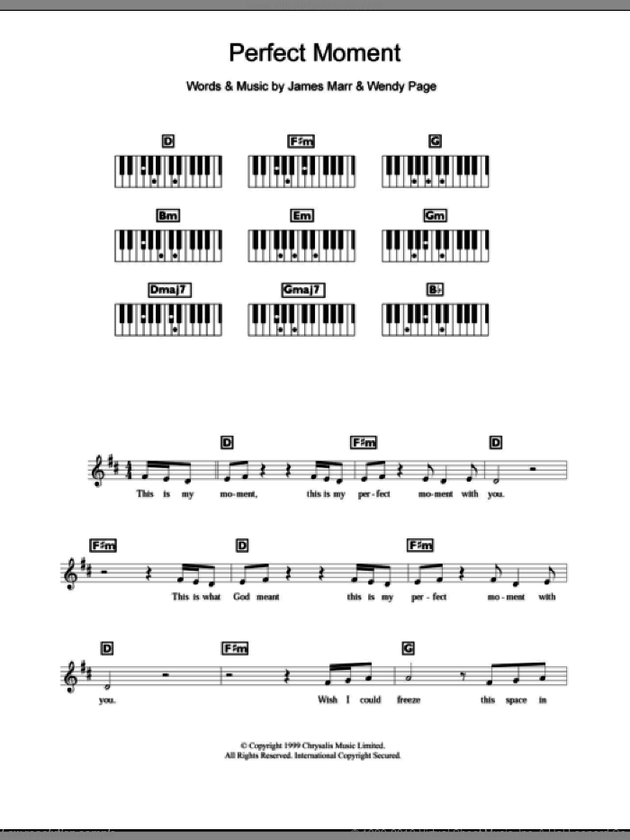 Perfect Moment sheet music for piano solo (chords, lyrics, melody) by Wendy Page. Score Image Preview.