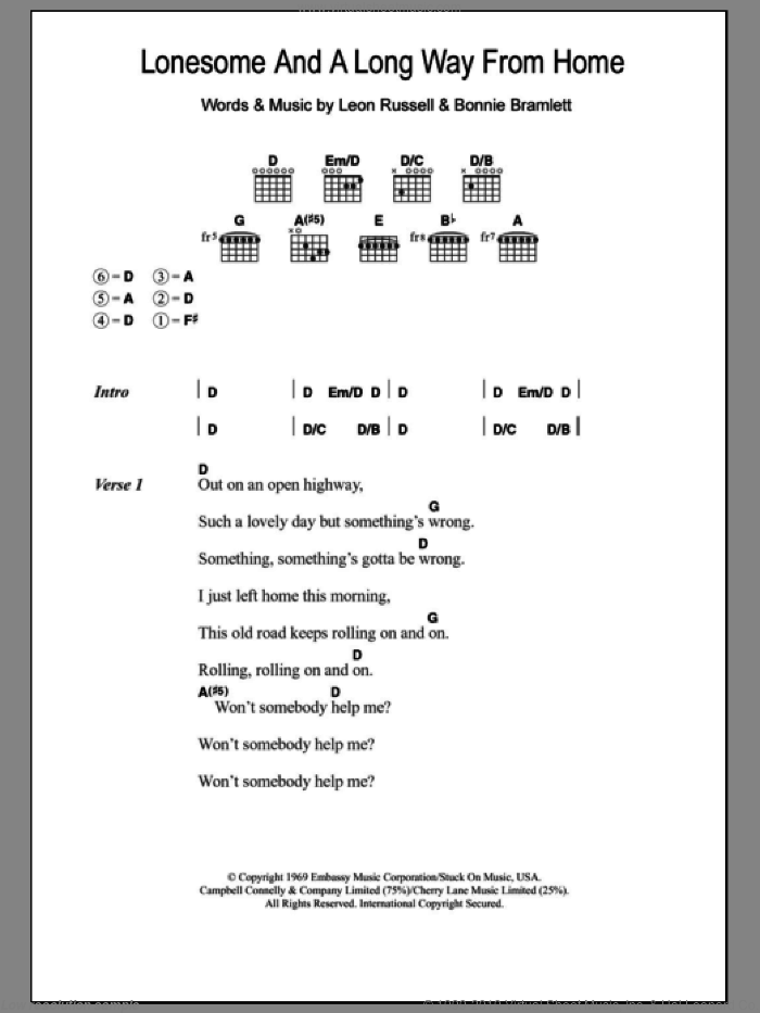Lonesome And A Long Way From Home sheet music for guitar (chords) by Eric Clapton and Leon Russell, intermediate guitar (chords). Score Image Preview.