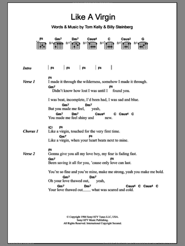 Like A Virgin sheet music for guitar (chords) by Madonna, Billy Steinberg and Tom Kelly, intermediate. Score Image Preview.