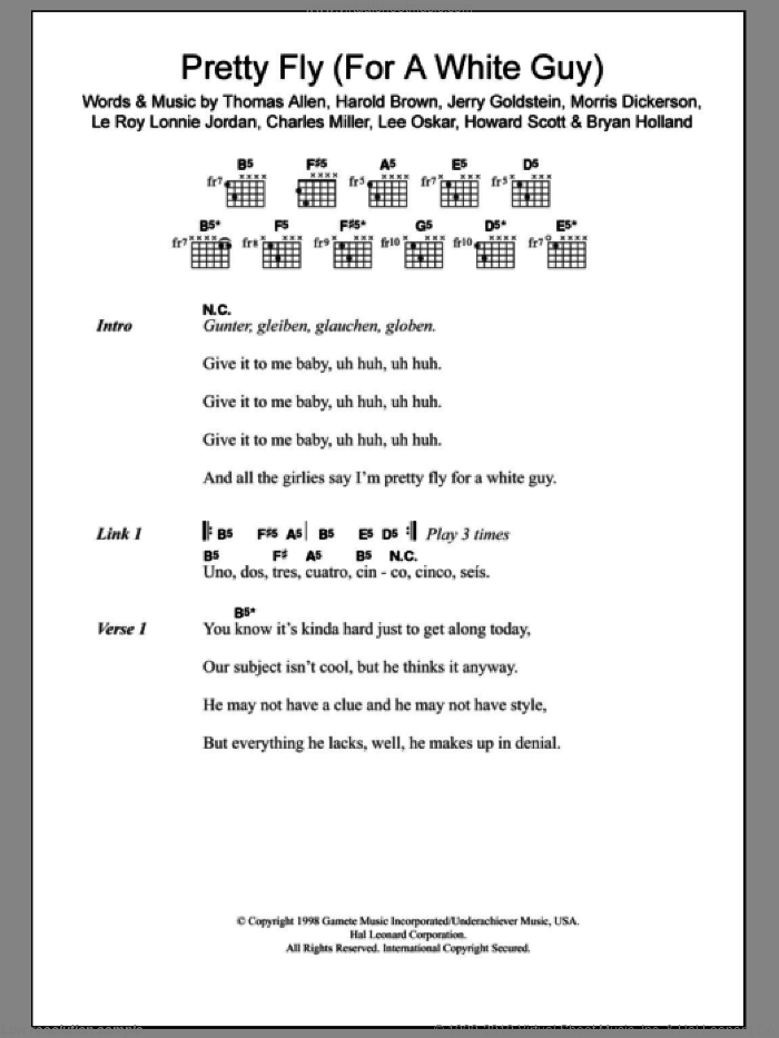 Pretty Fly (For A White Guy) sheet music for guitar (chords) by The Offspring, Bryan Holland, Charles Miller, Harold Brown, Howard Scott, Jerry Goldstein, Le Roy Lonnie Jordan, Lee Oskar, Morris Dickerson and Thomas Allen, intermediate skill level